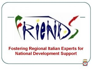 Fostering Regional Italian Experts for National Development Support