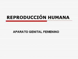 REPRODUCCIN HUMANA APARATO GENITAL FEMENINO El Aparato Reproductor