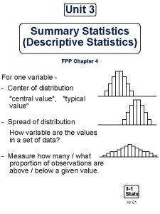 Unit 3 Summary Statistics Descriptive Statistics FPP Chapter