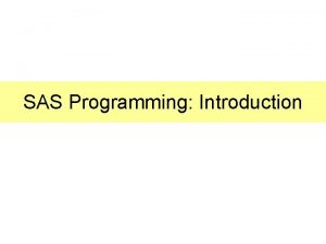 SAS Programming Introduction Program Window SAS Statements Go