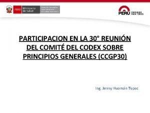 PARTICIPACION EN LA 30 REUNIN DEL COMIT DEL