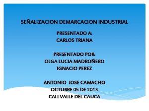 SEALIZACION DEMARCACION INDUSTRIAL PRESENTADO A CARLOS TRIANA PRESENTADO