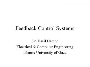 Feedback Control Systems Dr Basil Hamed Electrical Computer