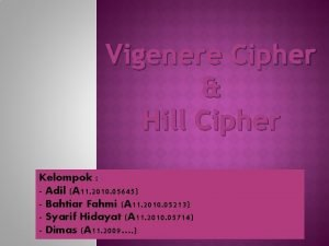 Vigenere Cipher Hill Cipher Kelompok Adil A 11