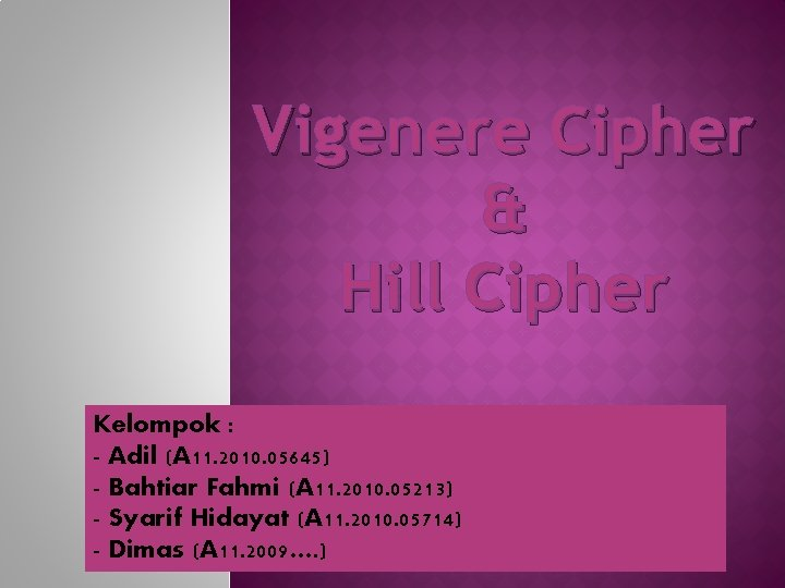 Vigenere Cipher Hill Cipher Kelompok Adil A 11