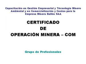 Capacitacin en Gestin Empresarial y Tcnologa Minero Ambiental
