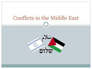 Conflicts in the Middle East Background Israel promised