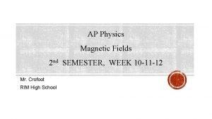 AP Physics Magnetic Fields 2 nd SEMESTER WEEK