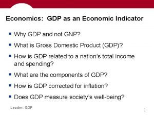 Economics GDP as an Economic Indicator Why GDP