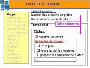 FORMATION PRAPACTIVITE Activit de DE travail TRAVAIL Rappel
