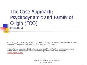 The Case Approach Psychodynamic and Family of Origin
