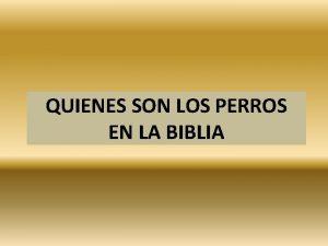 QUIENES SON LOS PERROS EN LA BIBLIA QUIENES