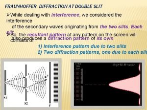 FRAUNHOFFER DIFFRACTION AT DOUBLE SLIT While dealing with