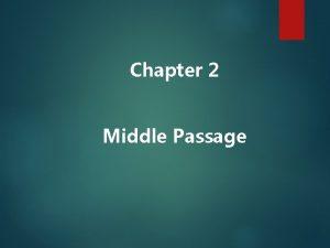 Chapter 2 Middle Passage I European Exploration Colonization
