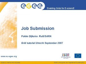 Enabling Grids for Escienc E Job Submission Fokke