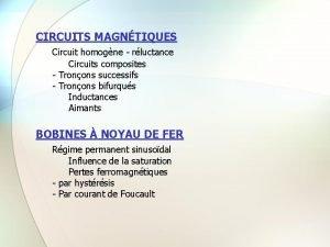 CIRCUITS MAGNTIQUES Circuit homogne rluctance Circuits composites Tronons