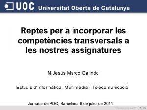 Reptes per a incorporar les competncies transversals a
