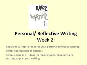 Personal Reflective Writing Week 2 Activities to inspire