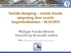 Sociale dumping sociale fraude opsporing door sociale inspectiediensten