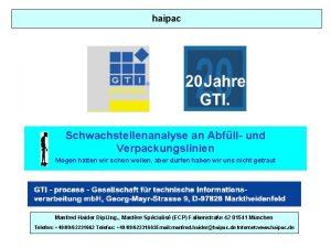 haipac Schwachstellenanalyse an Abfll und Verpackungslinien Mgen htten