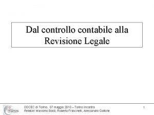 Dal controllo contabile alla Revisione Legale ODCEC di