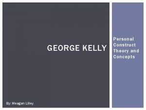 GEORGE KELLY By Meagan Lilley Personal Construct Theory