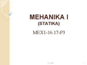 MEHANIKA I STATIKA MEX 1 16 17 P