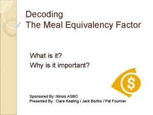 Decoding The Meal Equivalency Factor What is it