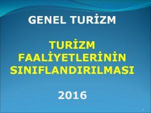 GENEL TURZM FAALYETLERNN SINIFLANDIRILMASI 2016 1 TURZM FAALYETLERNN
