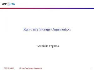 RunTime Storage Organization Leonidas Fegaras CSE 53174305 L