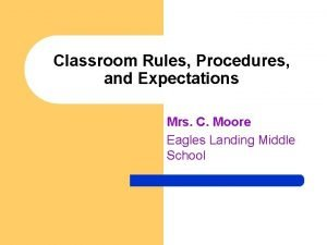 Classroom Rules Procedures and Expectations Mrs C Moore