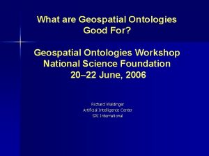 What are Geospatial Ontologies Good For Geospatial Ontologies