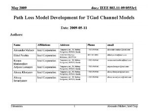 May 2009 doc IEEE 802 11 090553 r