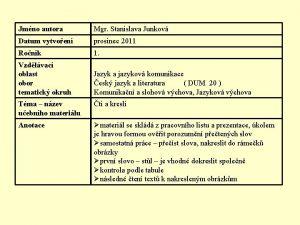 Jmno autora Mgr Stanislava Junkov Datum vytvoen prosinec