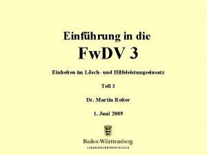 Einfhrung in die Fw DV 3 Einheiten im