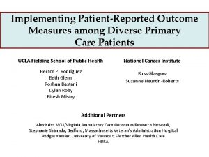 Implementing PatientReported Outcome Measures among Diverse Primary Care
