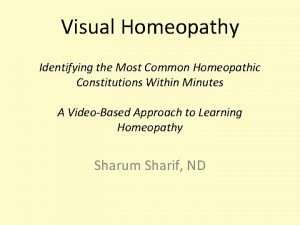 Visual Homeopathy Identifying the Most Common Homeopathic Constitutions