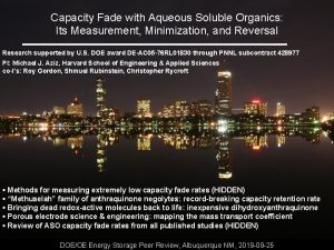 Capacity Fade with Aqueous Soluble Organics Its Measurement