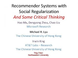 Recommender Systems with Social Regularization And Some Critical