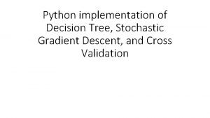 Python implementation of Decision Tree Stochastic Gradient Descent