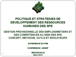 POLITIQUE ET STRATEGIES DE DEVELOPPEMENT DES RESSOURCES HUMAINES