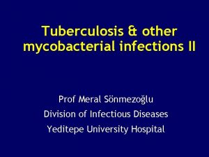 Tuberculosis other mycobacterial infections II Prof Meral Snmezolu