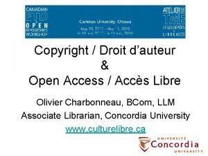 Copyright Droit dauteur Open Access Accs Libre Olivier