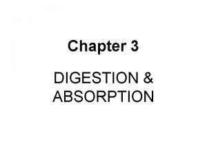 Chapter 3 DIGESTION ABSORPTION Digestion Digestion The process
