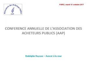 PARIS mardi 10 octobre 2017 CONFERENCE ANNUELLE DE