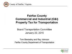 County of Fairfax Virginia Fairfax County Commercial and