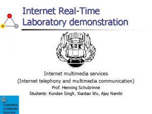 Internet RealTime Laboratory demonstration Internet multimedia services Internet