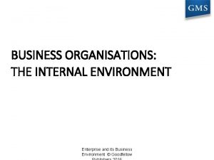 BUSINESS ORGANISATIONS THE INTERNAL ENVIRONMENT Enterprise and its