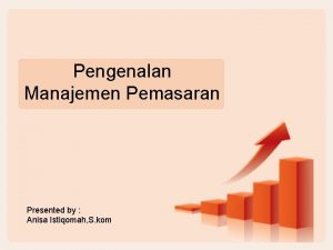 Pengenalan Manajemen Pemasaran Presented by Anisa Istiqomah S