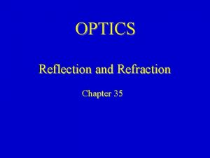 OPTICS Reflection and Refraction Chapter 35 Geometrical Optics